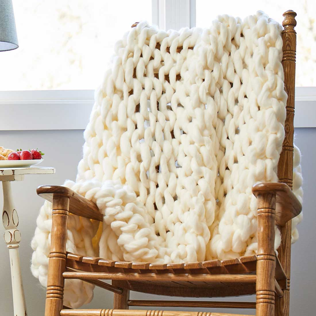 Handmade Ivory Knit Throw