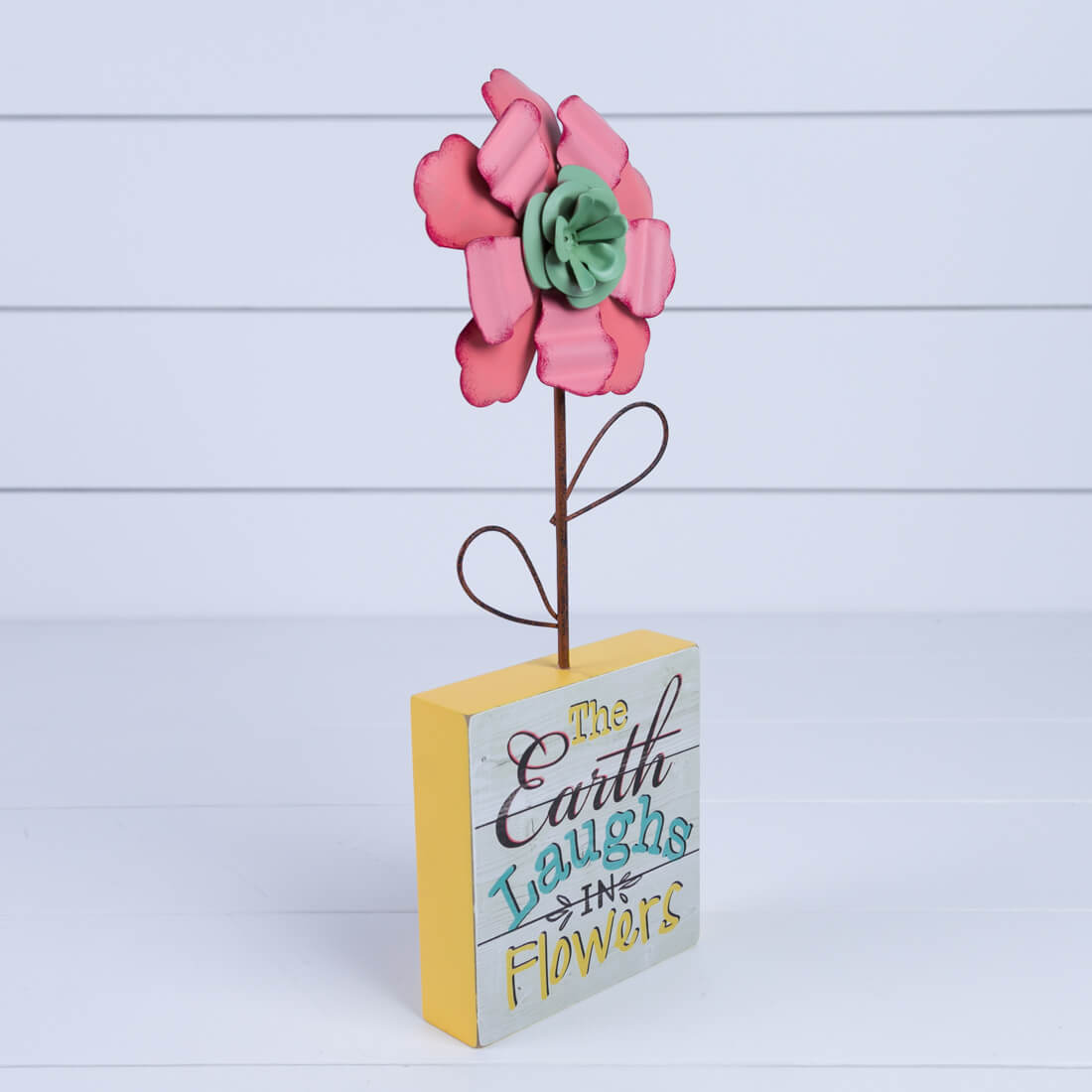 Standing Metal Flower with Sign