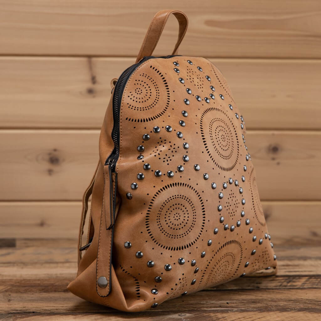 Studded tan backpack