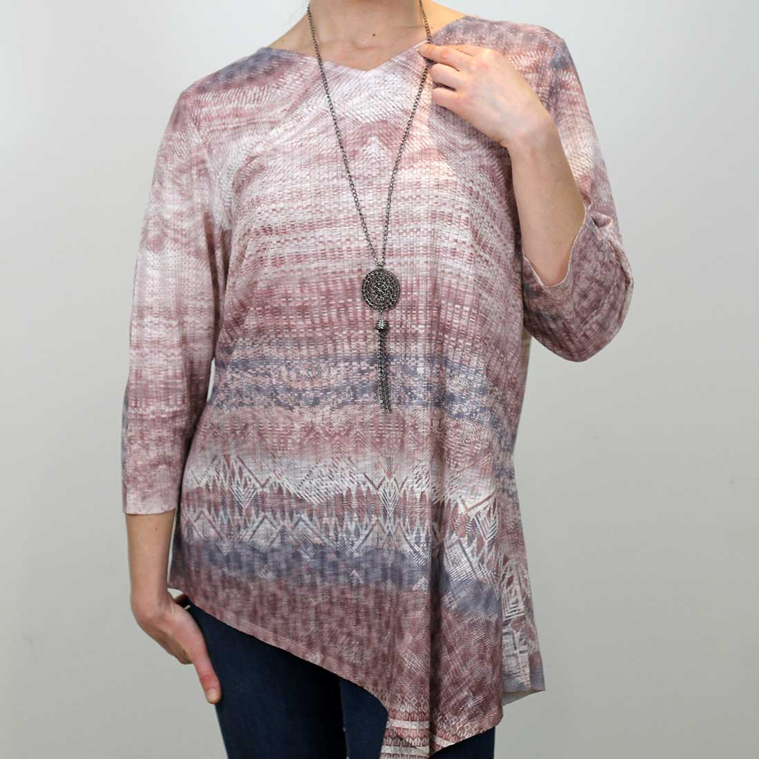 Aztec Print Textured Tunic with Necklace