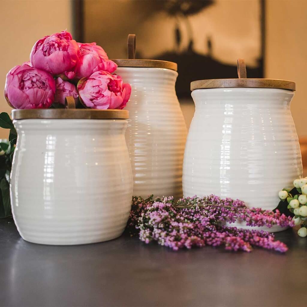 Oh Gussie! Cookie Jar 3 piece set ceramic