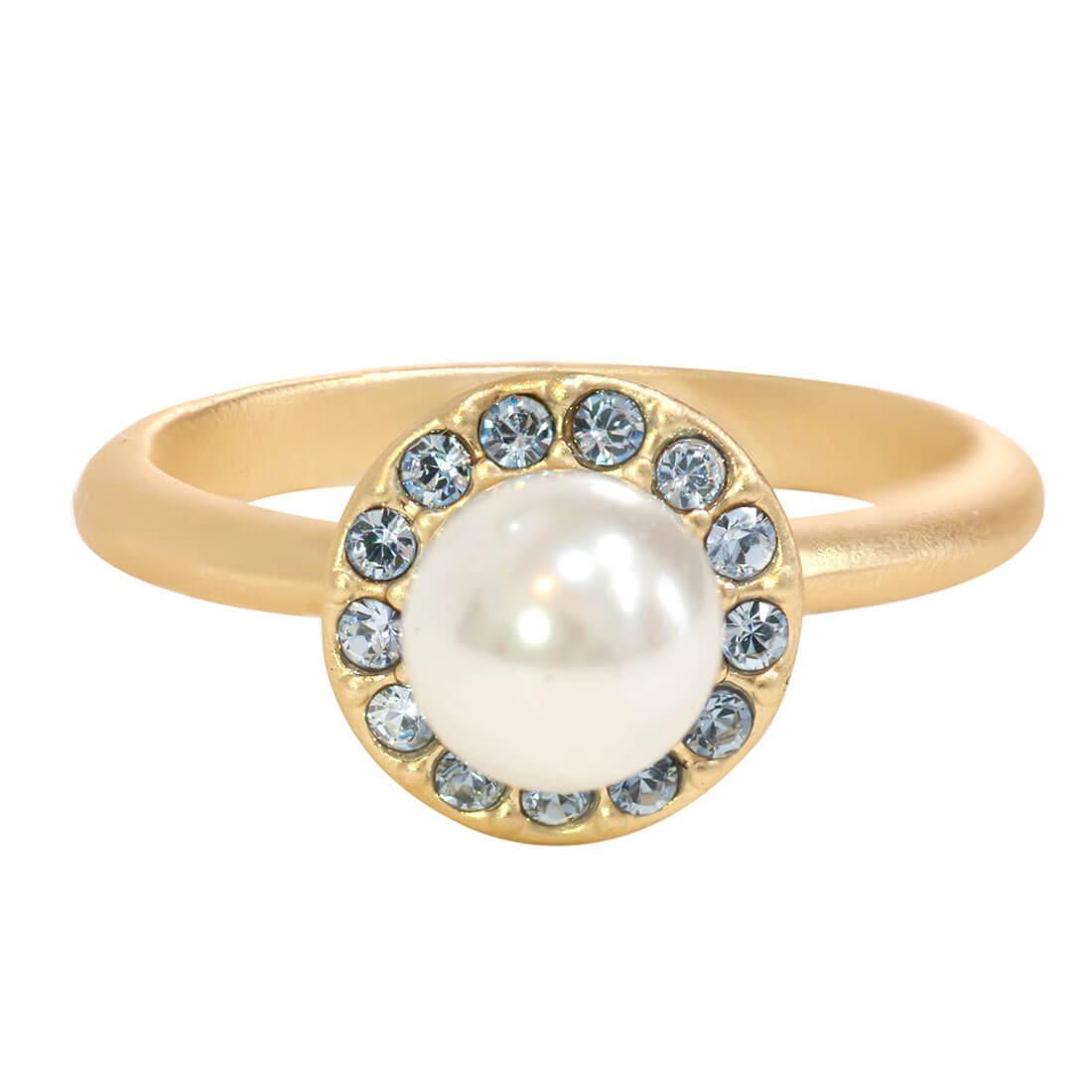 Swarovski Crystal Pearl Halo Ring - 14k Gold