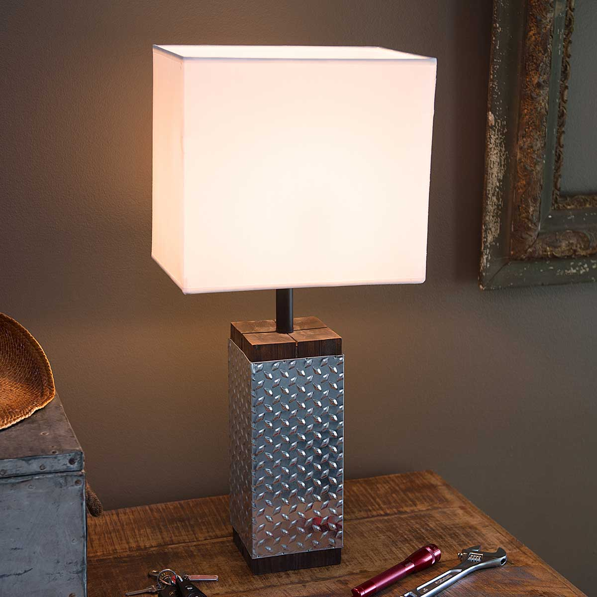 Metal and Wood Table Lamp