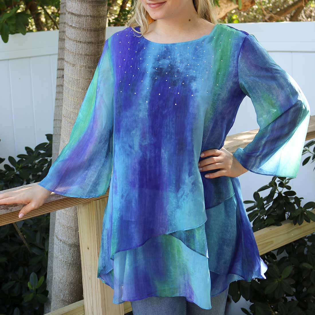 Multi-Color Chiffon Tunic