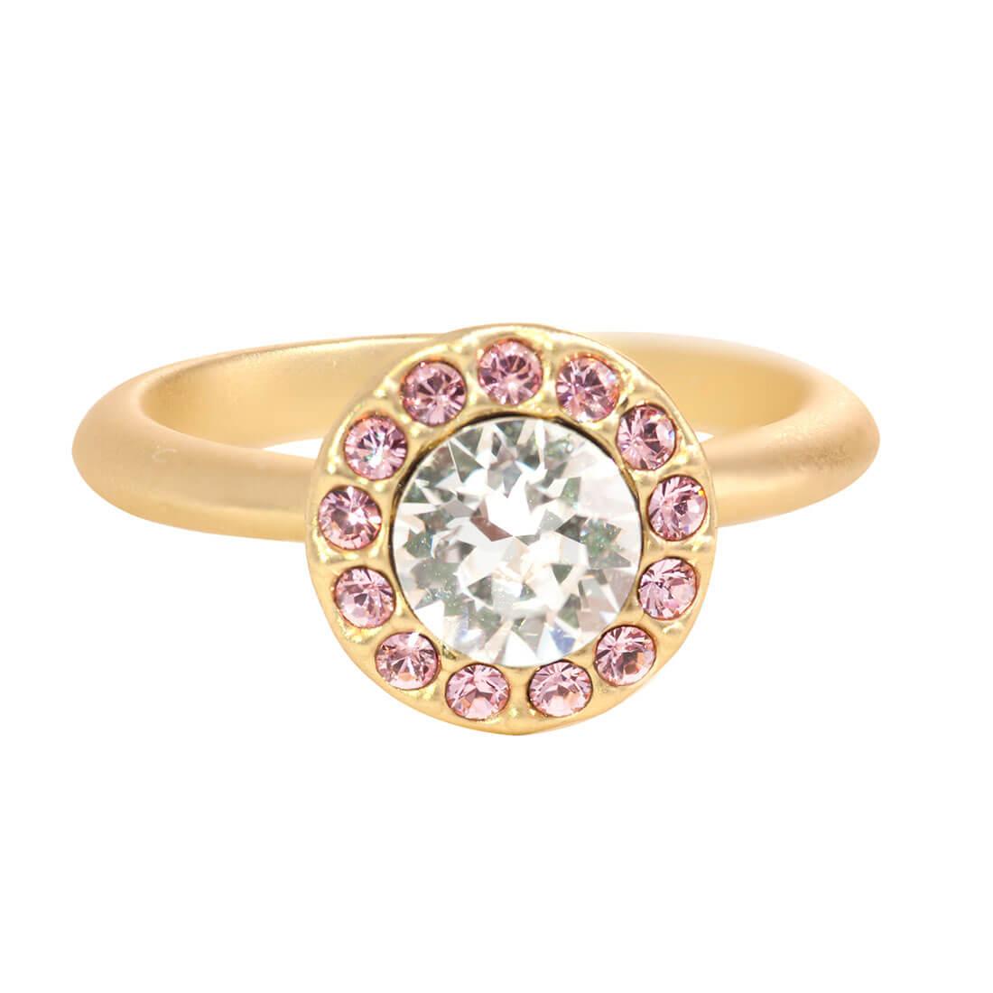 Swarovski Crystal Pink Halo Ring - 14k Gold