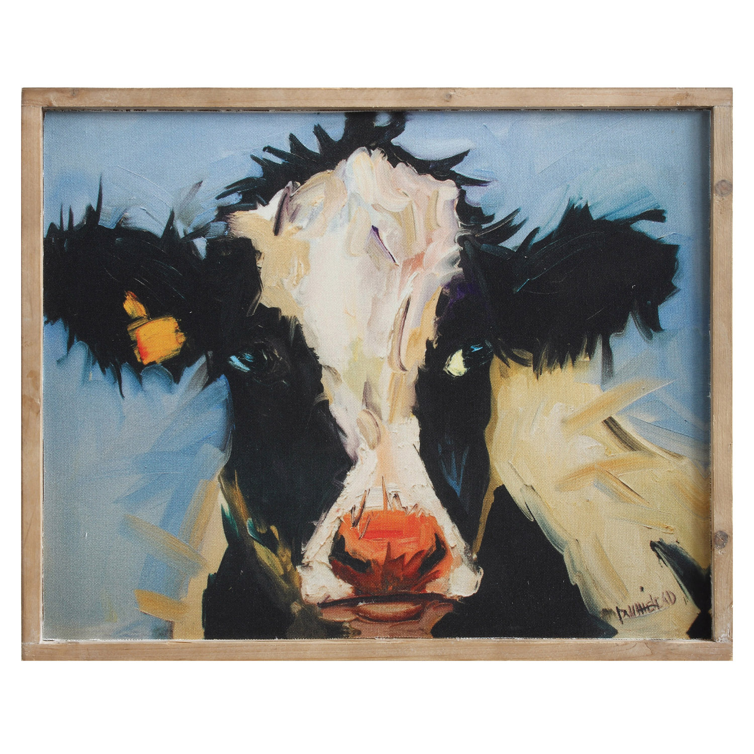 Wood Wall Decor with Cow Picture