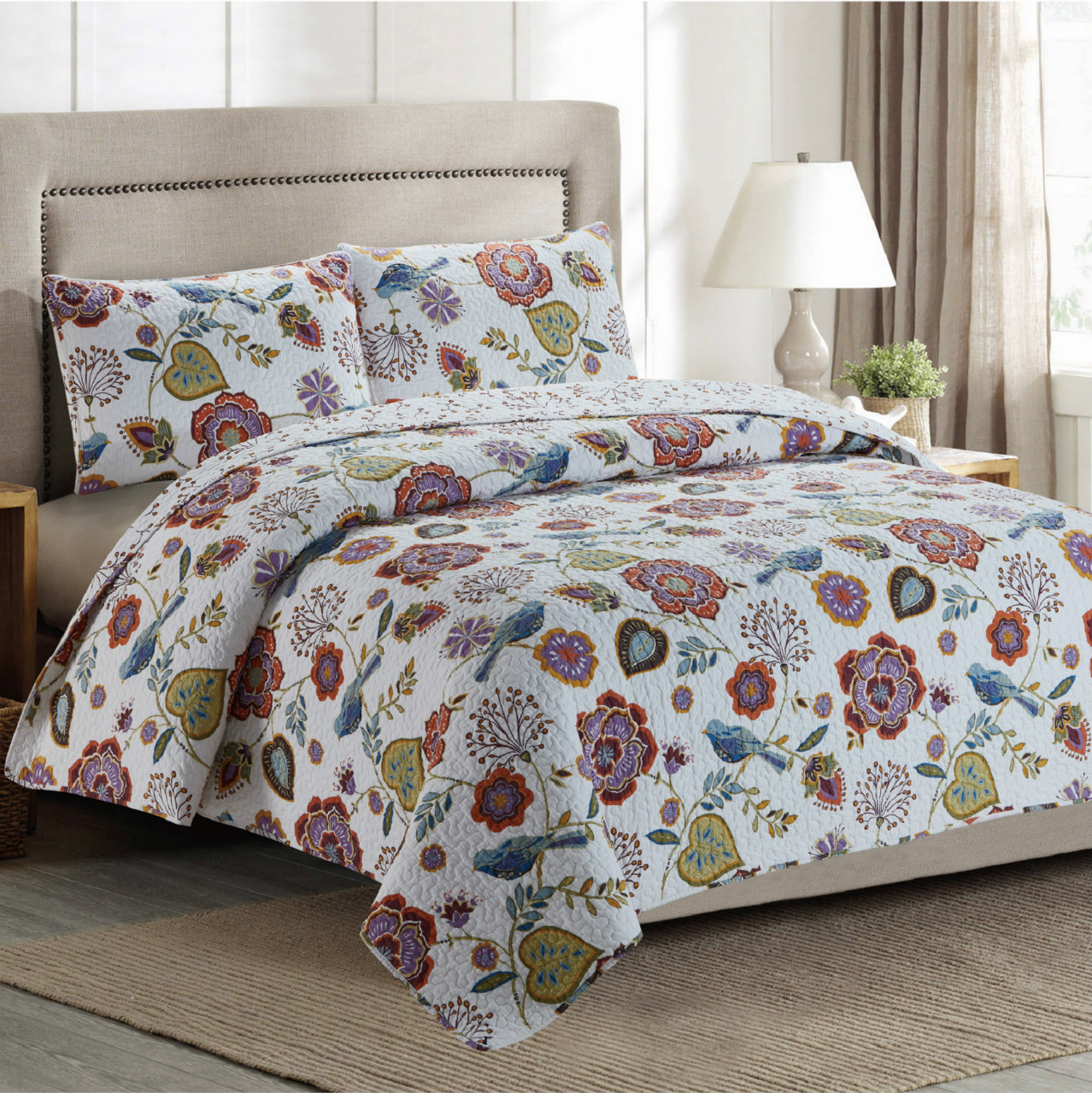 Floral Whole Cloth Quilt - King