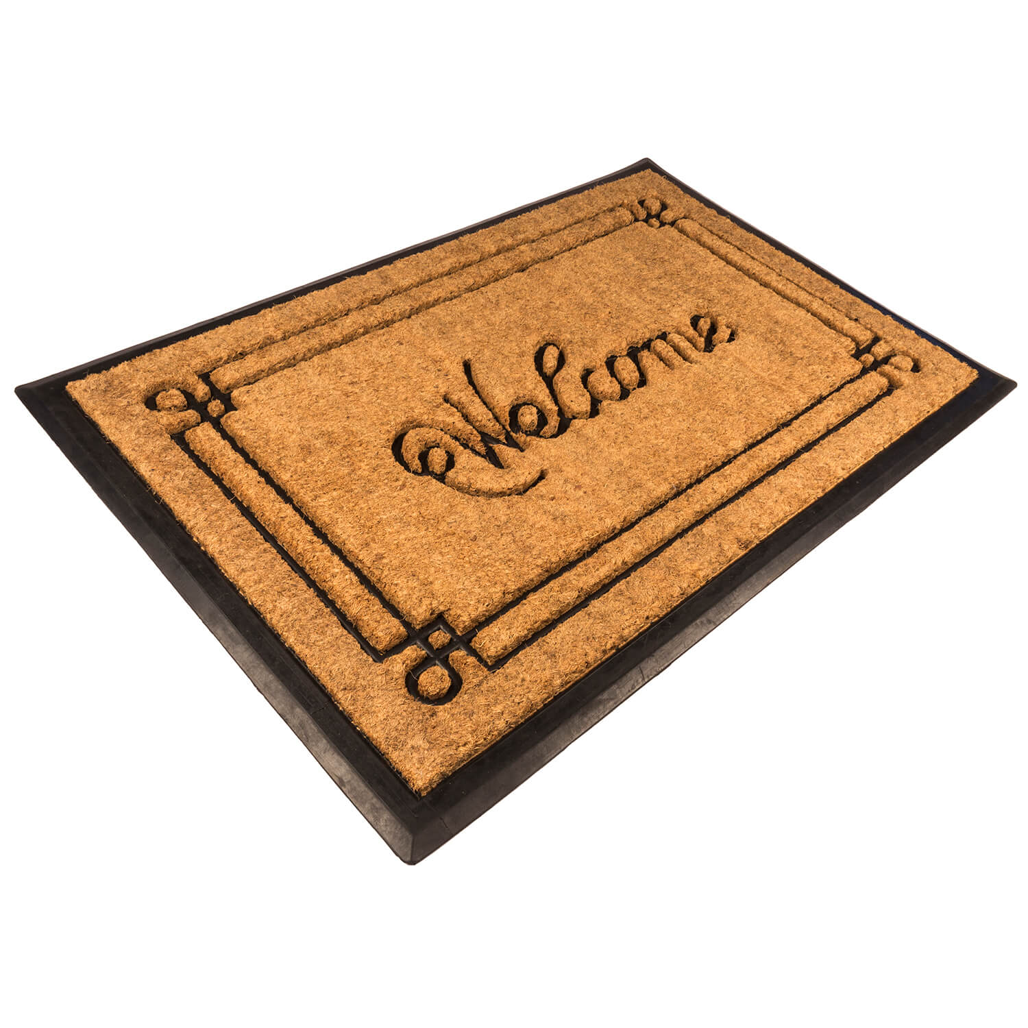 Welcome Recycled Rubber and Coir Doormat