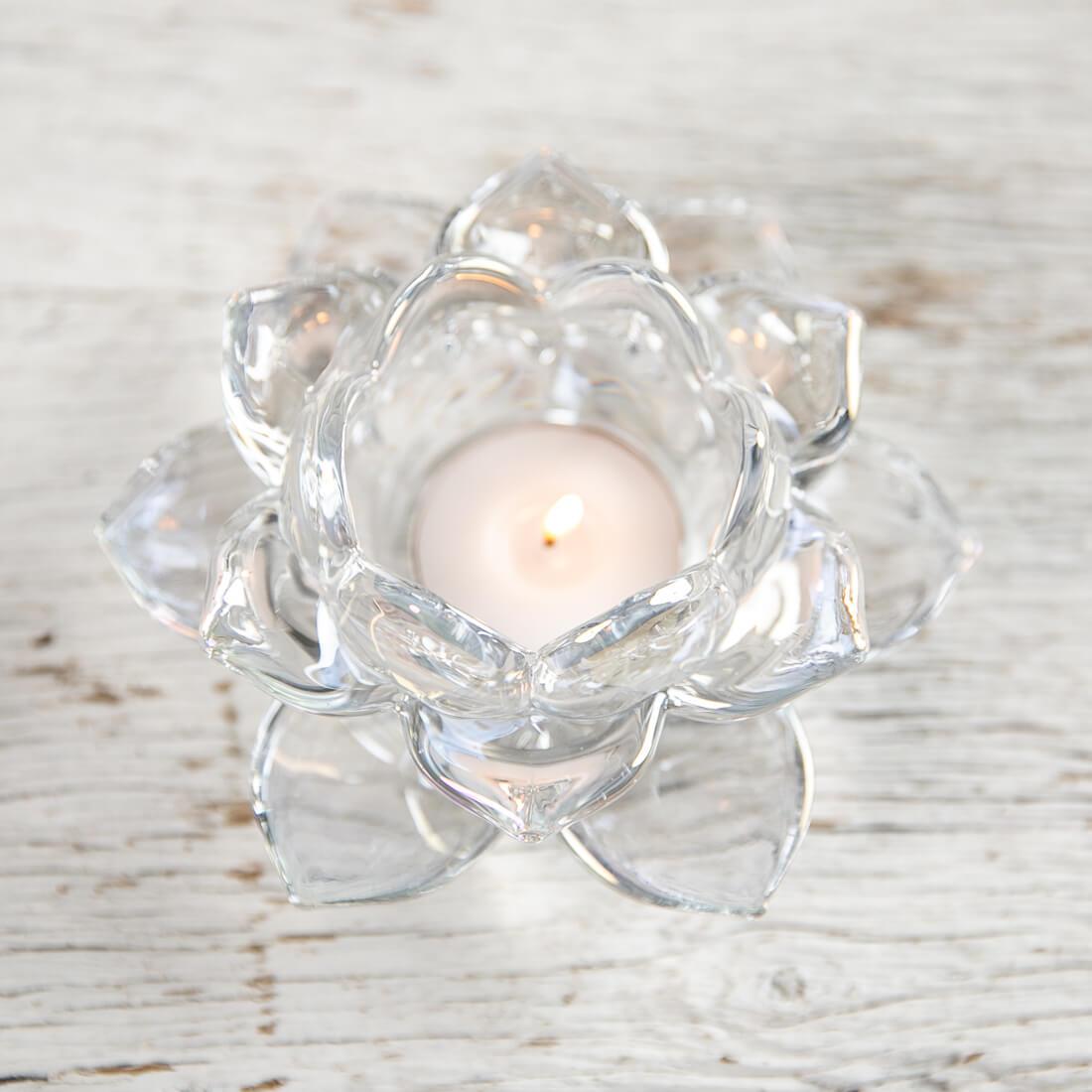 Clear Glass Flower Tea Light Holder