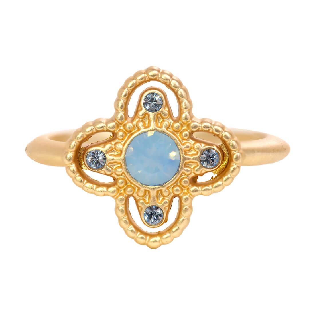 Swarovski Crystal Blue Star Ring - 14k Gold