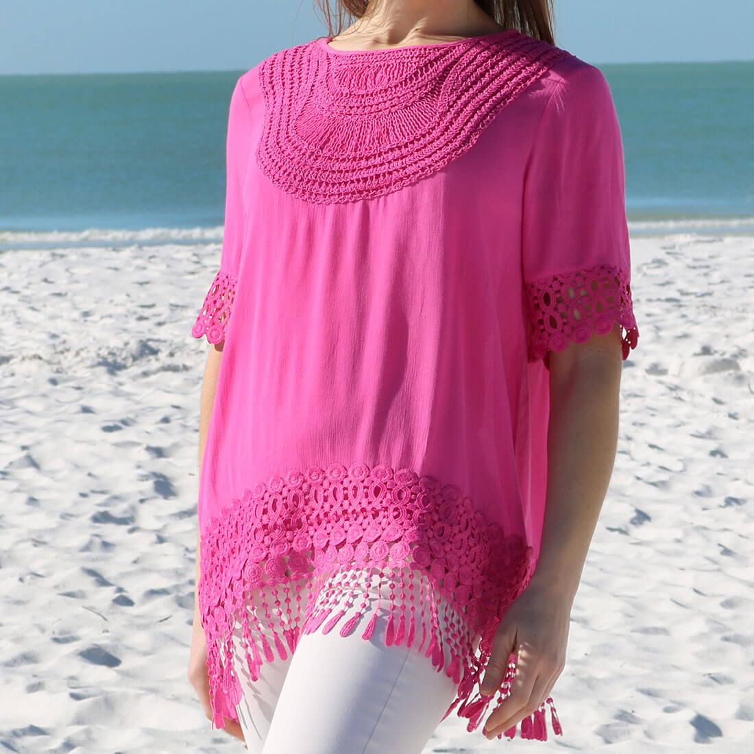 Crochet Yoke Gauze Tunic