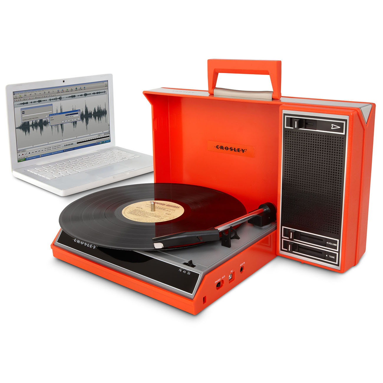 Crosley Spinnerette Portable USB Record Player - Red