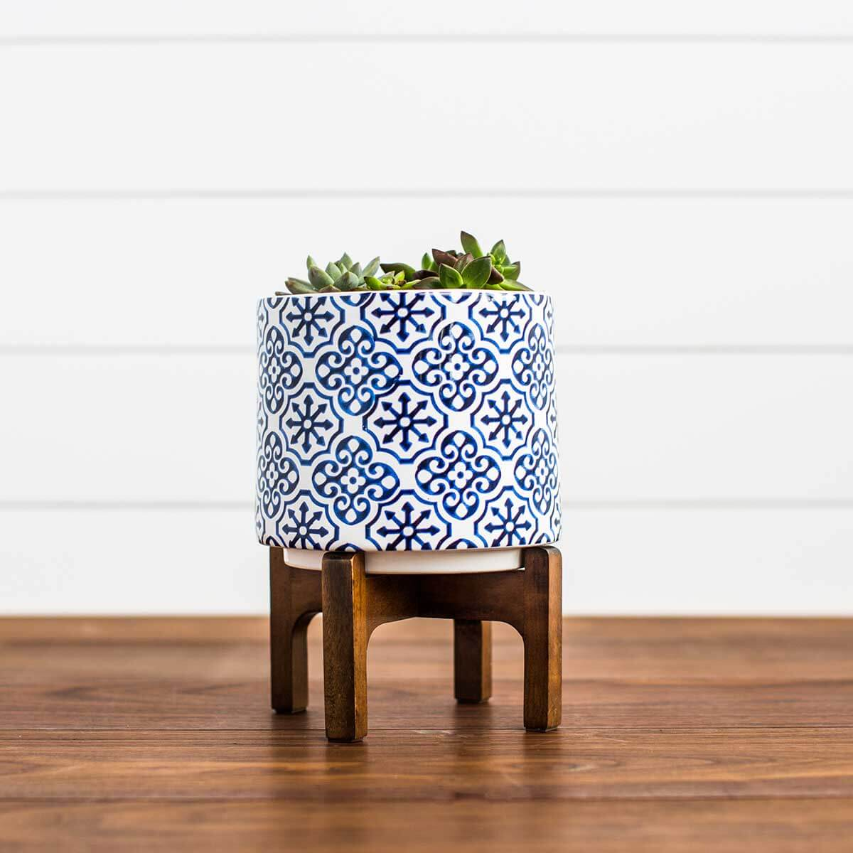 Ceramic Planter on Wooden Stand