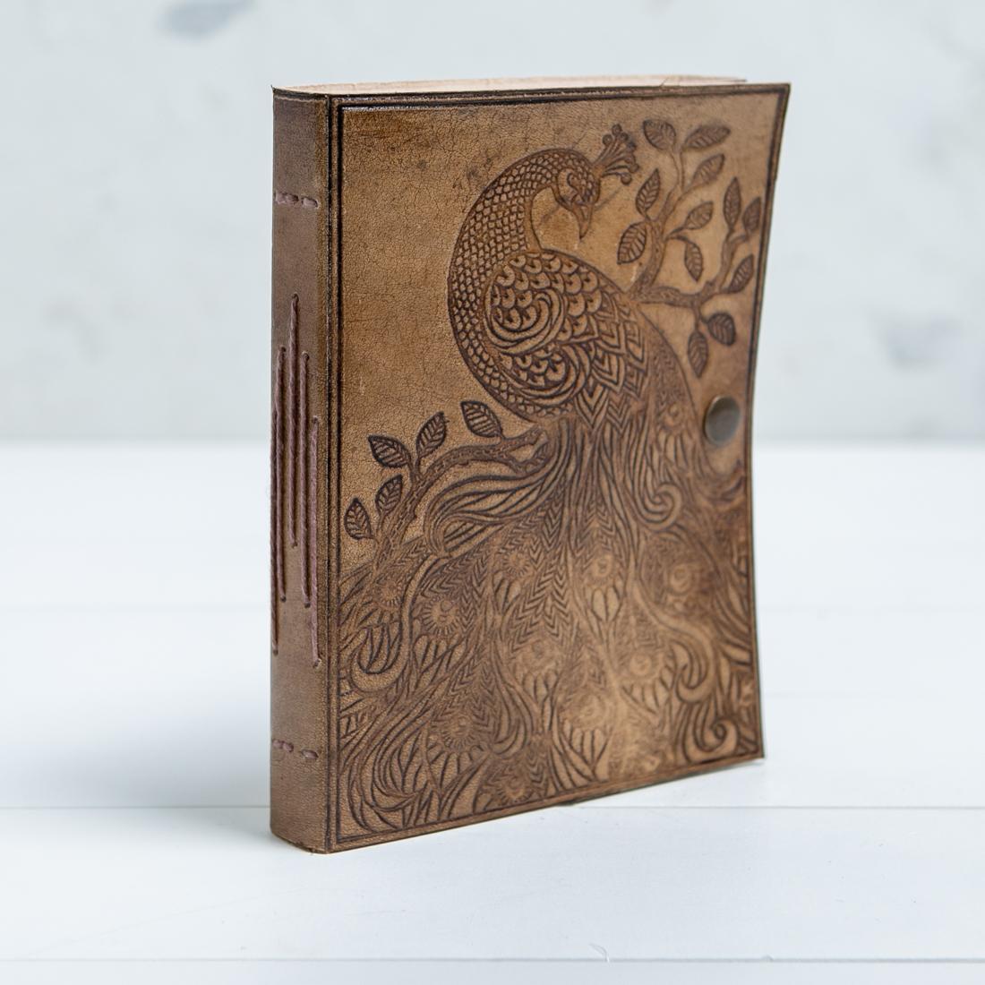 Debossed Peacock Leather Journal