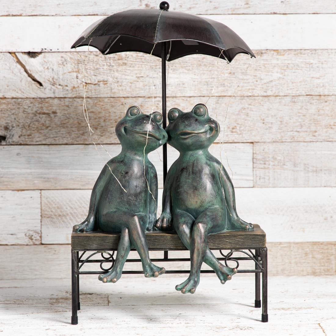 Solar Frog Couple Statue