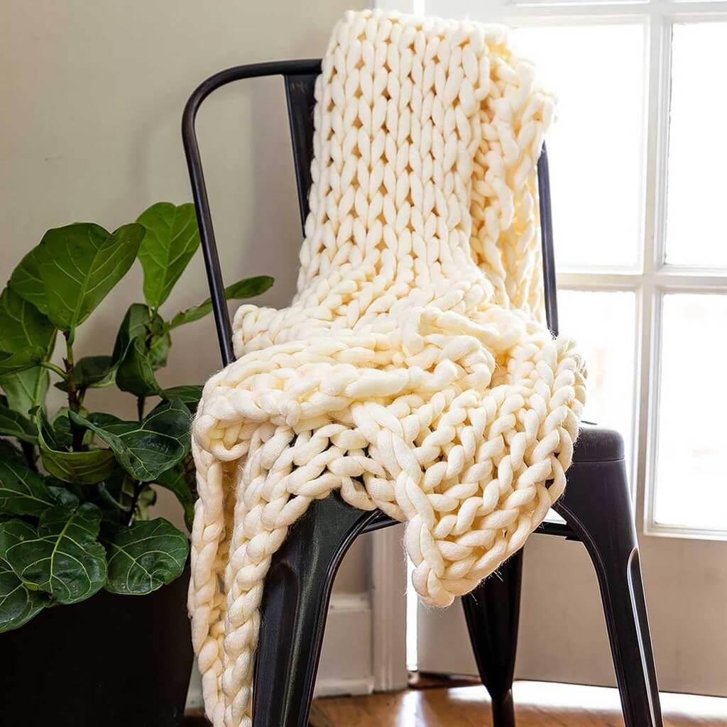 Handmade Ivory Knit Throw