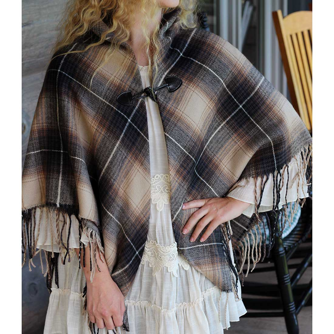 Brown Plaid Toggle Shawl