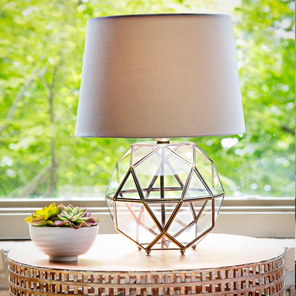 Metal and Glass Orb Table Lamp