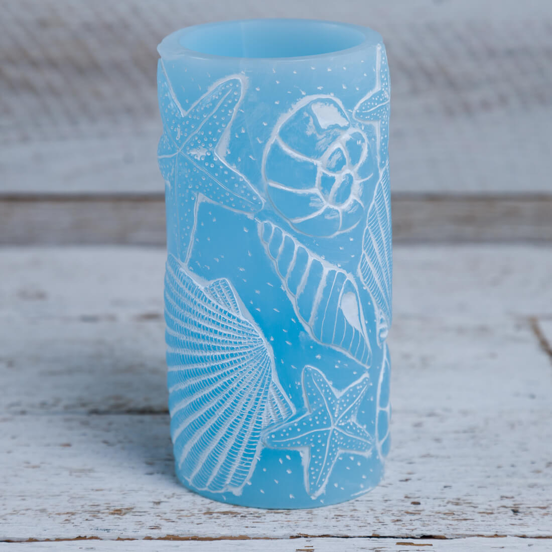 Embossed Seashells Led Piller Candle