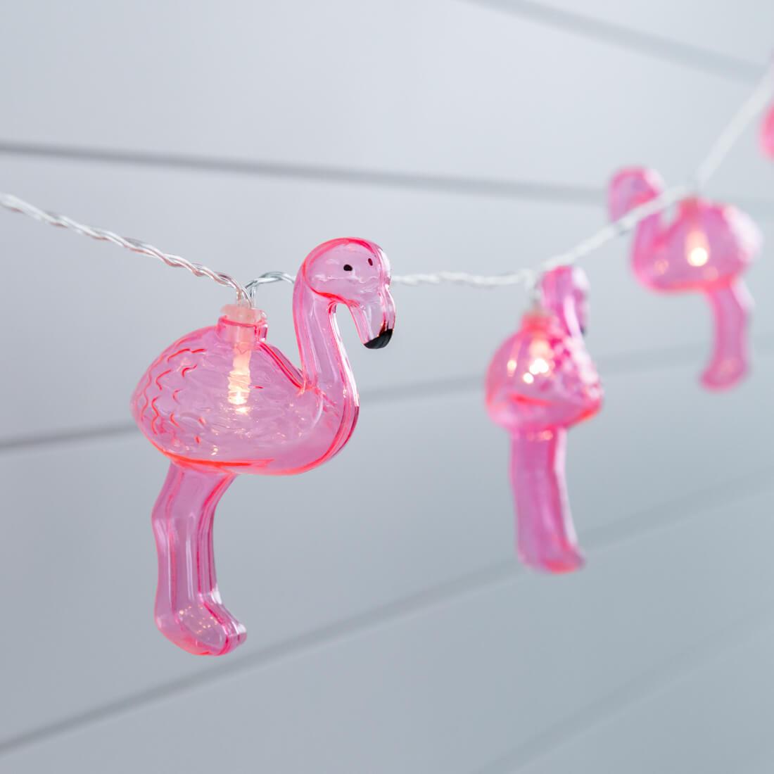 LED Flamingo String Lights - Set of 10