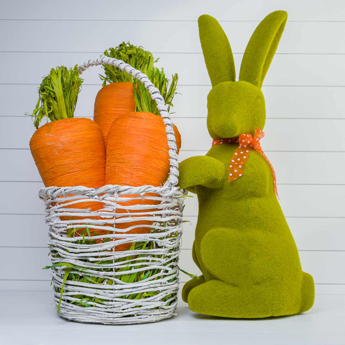Giant Bunny with Basket of Carrots