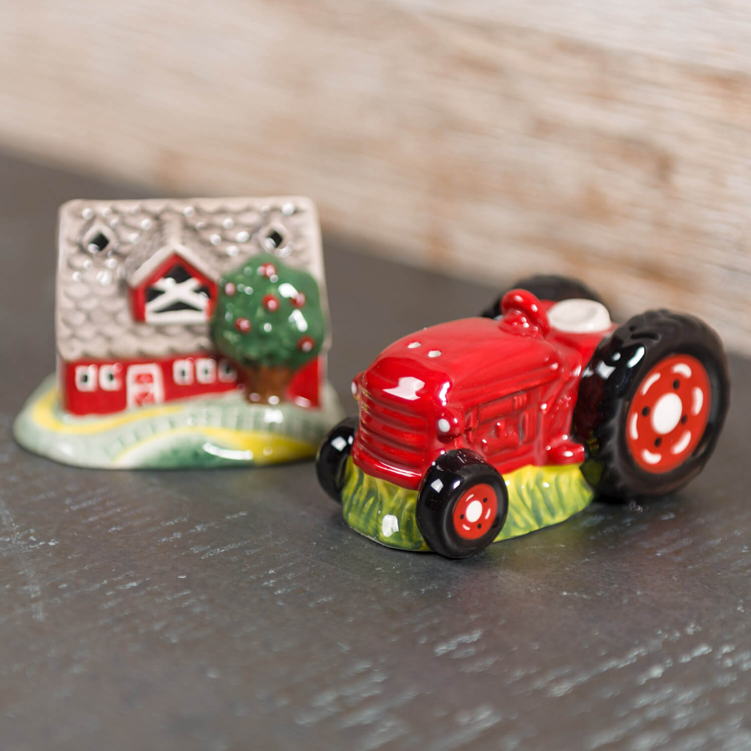 Barn and Tractor Salt and Pepper Shaker Set