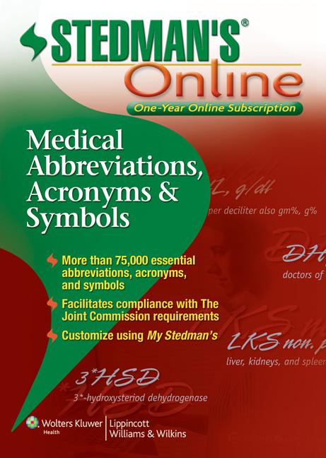 Stedmans Medical Abbreviations Online