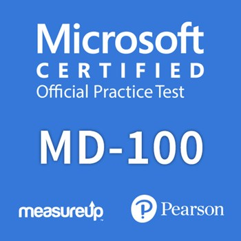 The MeasureUp MD-100: Windows 10 practice test. Pearson logo. MeasureUp logo
