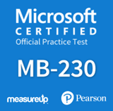 The MeasureUp MB-230: Microsoft Dynamics 365 Customer Service practice test. Pearson logo. MeasureUp logo