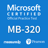 The MeasureUp MB-320: Microsoft Dynamics 365 Supply Chain Management, Manufacturing practice test. Pearson logo. MeasureUp logo
