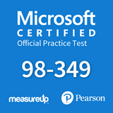 The MeasureUp MTA 98-349 Windows Operating System Fundamentals practice test. Pearson logo. MeasureUp logo