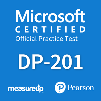 The MeasureUp DP-201: Microsoft Designing an Azure Data Solution practice test. Pearson logo. MeasureUp logo
