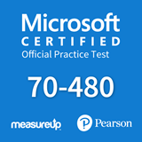 The MeasureUp 70-480: Programming in HTML5 with JavaScript and CSS3 practice test. Pearson logo. MeasureUp logo