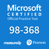 The MeasureUp MTA: 98-368 - Mobility and Devices Fundamentals practice test. Pearson logo. MeasureUp logo
