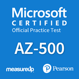 The MeasureUp AZ-500: Microsoft Azure Security Technologies practice test. Pearson logo. MeasureUp logo