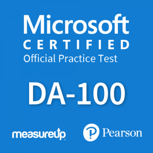 The MeasureUp DA-100: Analyzing Data with Microsoft Power BI practice test. Pearson logo. MeasureUp logo