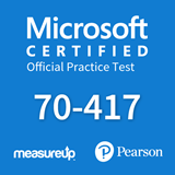 The MeasureUp 70-417 Upgrading Your Skills to MCSA Windows Server 2012 practice test. Pearson logo. MeasureUp logo