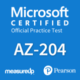 The MeasureUp AZ-204: Developing Solutions for Microsoft Azure practice test. Pearson logo. MeasureUp logo
