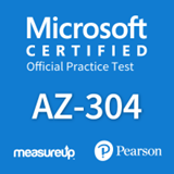 The MeasureUp AZ-304: Microsoft Azure Architect Design practice test. Pearson logo. MeasureUp logo