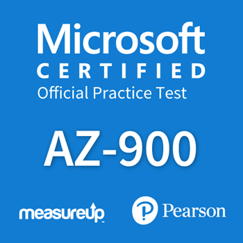 The MeasureUp AZ-900: Microsoft Azure Fundamentals practice test. Pearson logo. MeasureUp logo