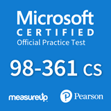 The MeasureUp MTA: 98-361 CS - Software Developer Fundamentals (C#) practice test. Pearson logo. MeasureUp logo