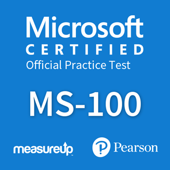 The MeasureUp MS-100: Microsoft 365 Identity and Services practice test. Pearson logo. MeasureUp logo