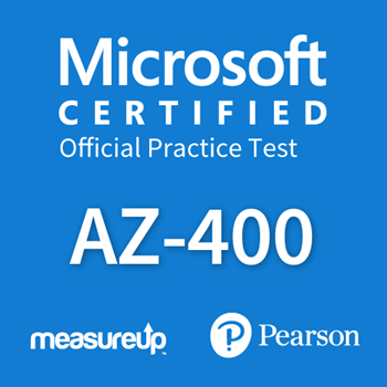 The MeasureUp AZ-400: Designing and Implementing Microsoft DevOps Solutions practice test. Pearson logo. MeasureUp logo