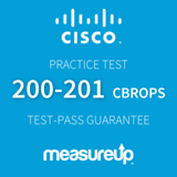 The MeasureUp 200-201 CBROPS: Understanding Cisco Cybersecurity Operations Fundamentals practice test. Pearson logo. MeasureUp logo