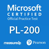 The MeasureUp PL-200: Microsoft Power Platform Functional Consultant practice test. Pearson logo. MeasureUp logo