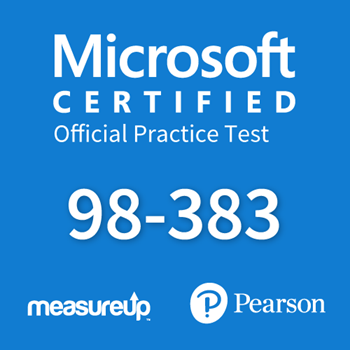 The MeasureUp MTA: 98-383- Introduction to Programming Using HTML and CSS practice test. Pearson logo. MeasureUp logo