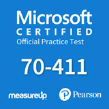 The MeasureUp 70-411: Administering Windows Server 2012 practice test. Pearson logo. MeasureUp logo