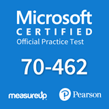 The MeasureUp 70-462 Administering Microsoft SQL Server 2012/2014 Databases practice test. Pearson logo. MeasureUp logo