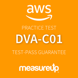 The MeasureUp DVA-C01: AWS Certified Developer - Associate practice test. Pearson logo. MeasureUp logo