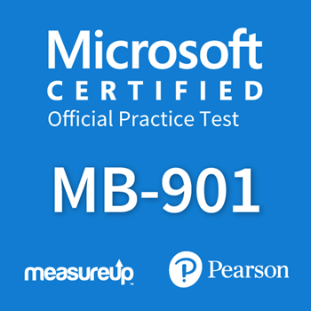 The MeasureUp MB-901: Microsoft Dynamics 365 Fundamentals practice test. Pearson logo. MeasureUp logo